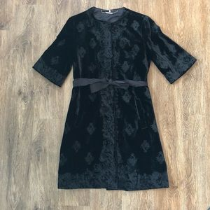 Elie Tahari Embroidered Velvet Coat
